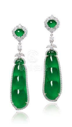 缅甸天然翡翠「福豆」配钻石耳环