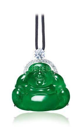 大度超凡 缅甸天然翡翠配钻石「佛公」挂坠项链
