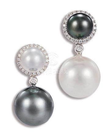 养殖珍珠配钻石耳环