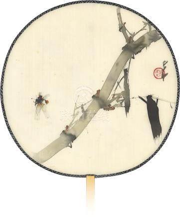 趙少昂 竹影蜂飛、行書七絕 設色、水墨絹本 團扇 一九六○年作