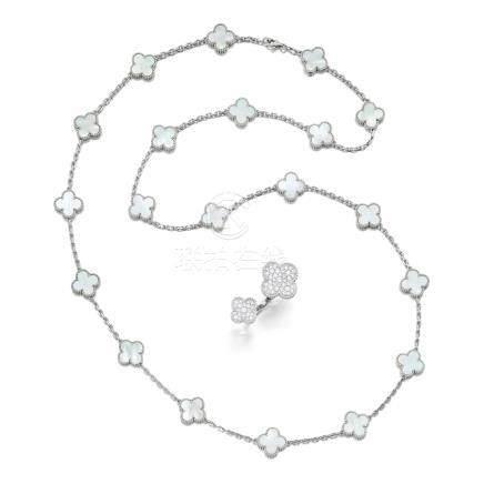 珍珠母項鏈及鑽石戒指, 'Alhambra', 梵克雅寶(Van Cleef & Arpels)