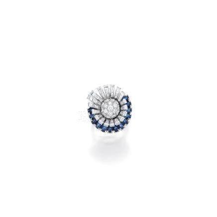 鑽石配藍寶石戒指, 卡地亞(Cartier)