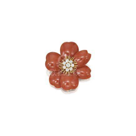 珊瑚配鑽石別針, 'Rose de Noël', 梵克雅寶(Van Cleef & Arpels)