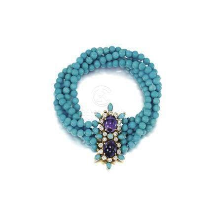 綠松石配紫水晶及鑽石手鏈, 卡地亞(Cartier)