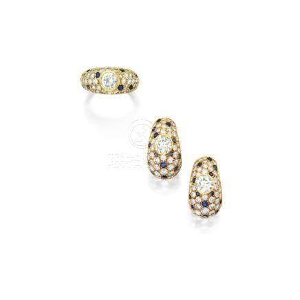 鑽石配藍寶石戒指, 卡地亞鑲嵌 ( Monture Cartier ); 及鑽石配藍寶石耳環一對, 卡地亞(Cartier)
