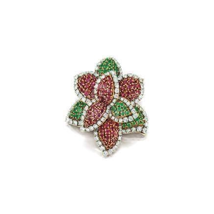 紅寶石配祖母綠及鑽石別針, 梵克雅寶(Van Cleef & Arpels)