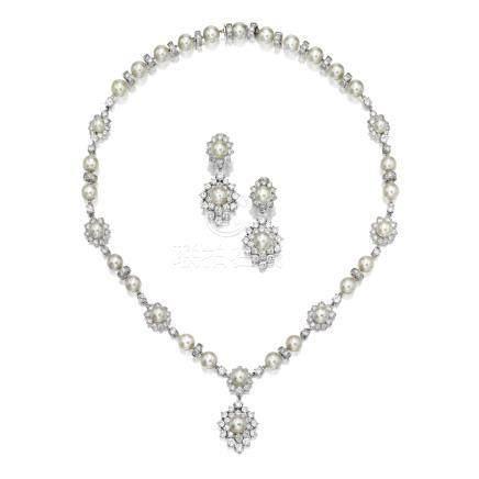 養殖珍珠 配 鑽石 項鏈 及 吊耳環套裝, 梵克雅寶(Van Cleef & Arpels)