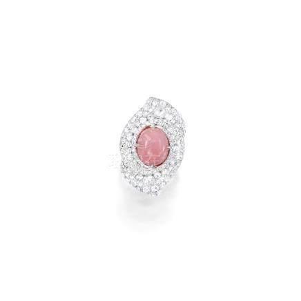 海螺珠配鑽石戒指