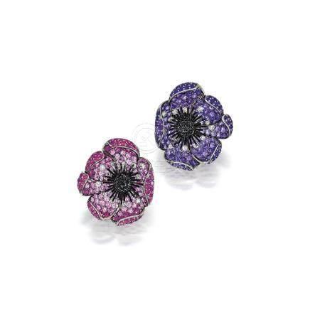 粉紅色剛玉或紫水晶及鑽石耳環一對, Michele della Valle