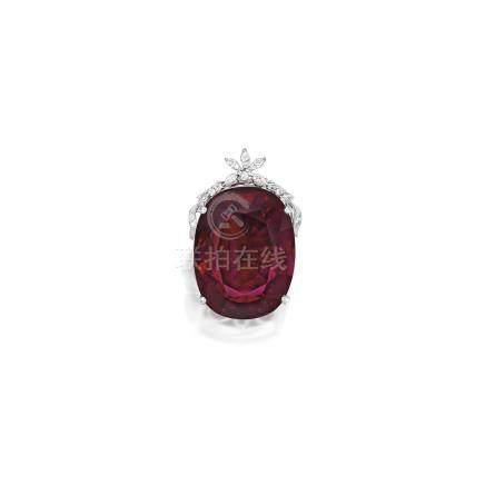 紅色碧璽配鑽石吊墜