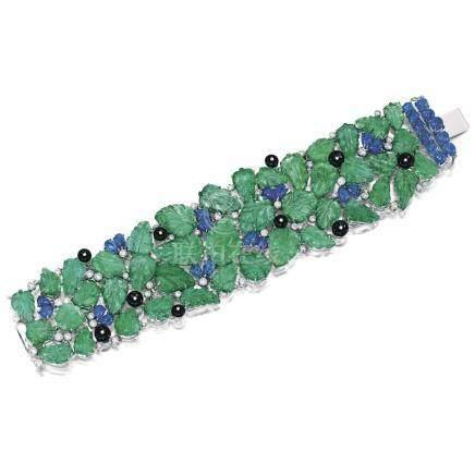 祖母綠, 藍寶石配縞瑪瑙及鑽石手鏈