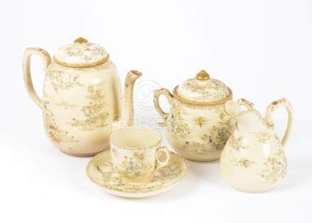 A 20th Century Satsuma ware part tea service, comprising eight teacups, twelve saucers, teapot, milk