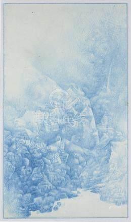 劉丹(1953年生)山水一九九七年作顏色筆紙本