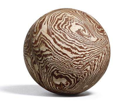 北宋   素胎絞胎球