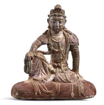宋至遼   砂岩石雕觀世音菩薩半迦坐像