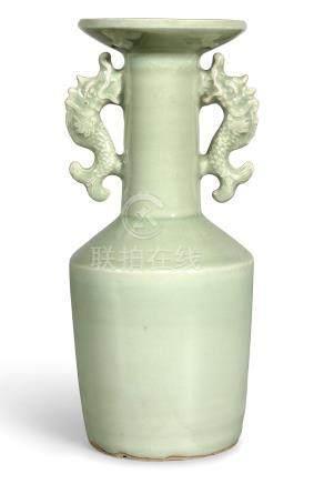元   龍泉青釉雙魚龍耳盤口瓶