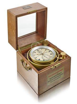 VEB Glashütter Uhrenbetriebe 紅木及銅航海時計備動力儲存顯示,錶殼編號4'570,約1940年製。