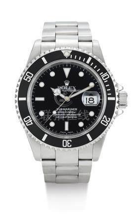 勞力士 16610型號「SUBMARINER」精鋼鍊帶腕錶備日期顯示,錶殼編號K179843,約2001年製。