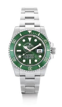 勞力士 116610LV型號「HULK」精鋼錬帶腕錶備日期顯示,錶殼編號5310W170,約2017年製。