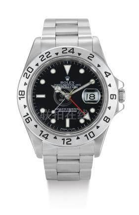 勞力士 16570型號「EXPLORER II」精鋼鍊帶腕錶備24小時及日期顯示,錶殼編號U634920,約1997年製。