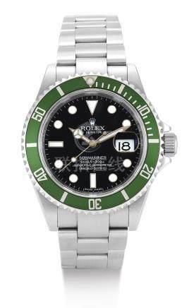 勞力士 16610T型號「KERMIT」精鋼錬帶腕錶備日期顯示,錶殼編號V944602,約2009年製。