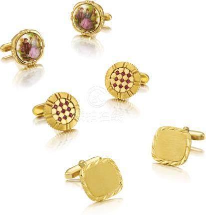 Limoges 及Unsigned 三對黃金及銅鑲藍寶石袖扣,約2000年製。