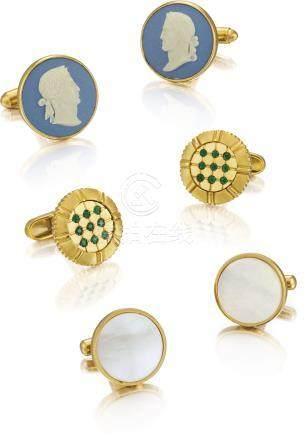 Unsigned 三對黃金及銅製袖扣,約2000年製。