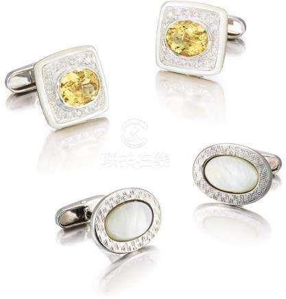 Unsigned 兩對白金鑲綠柱石、鑽石及珠母貝袖扣,約2000年製。