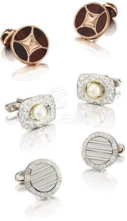Unsigned 三對白金及銀鑲寶石、虎眼石及珠母貝袖扣,約2000年製。