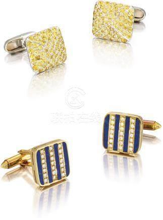 Unsigned 兩對金鑲寶石、鑽石及青金石袖扣,約2000年製。