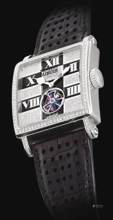 Roger Dubuis G37 09 0-SDC 型號「GOLDEN SQUARE」限量版白金鑲鑽石陀飛輪腕錶,機芯編號159,編號1/28,約2008年製。