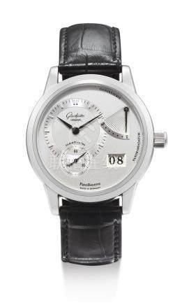 格拉蘇蒂 「PANO RESERVE」精鋼腕錶備日期及動力儲存顯示,機芯編號00'403,錶殼編號00'225,約2003年製。