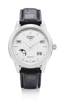 格拉蘇蒂 「SENATOR PERPETUAL CALENDAR」精鋼萬年曆腕錶備月相及動力儲存顯示,機芯編號21'877,錶殼編號0'471,約2012年製。