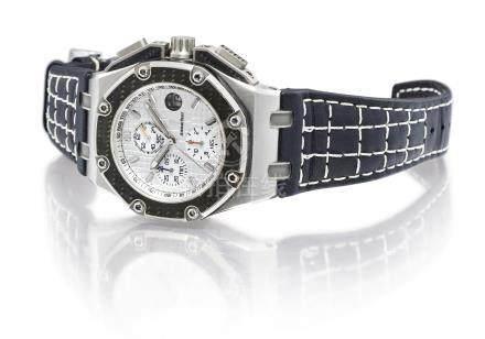 愛彼 260301O.OO.D001IN.01型號「ROYAL OAK OFFSHORE JUAN PABLO MONTOYA」限量版鈦金屬及鍛造碳計時腕錶,備日期顯示,機芯編號582'164,錶殼編號F23982,編號0256/1000,約2010年製。