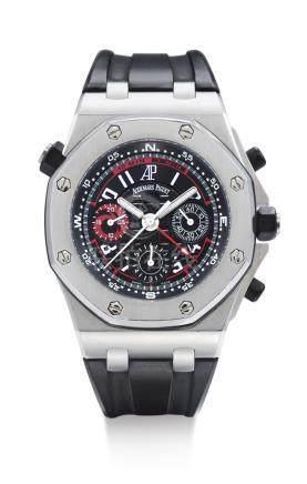 愛彼 26040ST型號「ROYAL OAK OFFSHORE ALINGHI POLARIS」 限量版精鋼飛返計時腕錶備倒數計時,錶殼編號F52605,編號1345,約2006年製。