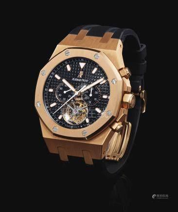 愛彼 25977OR.OO.D002CR.01型號「ROYAL OAK TOURBILLON CHRONOGRAPH」粉紅金陀飛輪計時腕錶,機芯編號720'976,錶殼編號G47718,約2011年製。