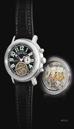 愛彼 25909PT型號「JULES AUDEMARS TOURBILLON CHRONOGRAPHE」限量版鉑金陀飛輪計時腕錶,機芯編號570'618,錶殼編號F12419,編號1/5,約2005年製。
