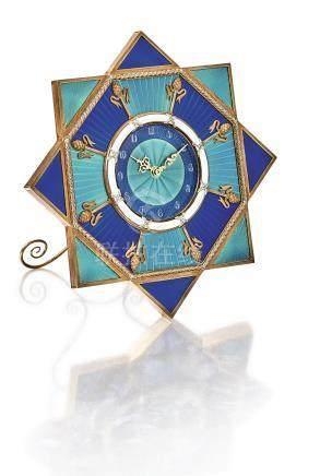 MM 黃金鑲鑽石及琺琅座鐘,約1991年製