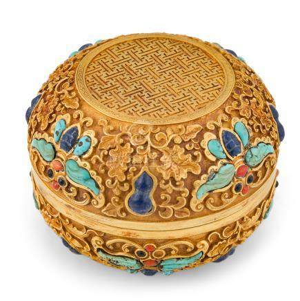 QING SOLID GOLD & STONE INLAID TRINKET BOX