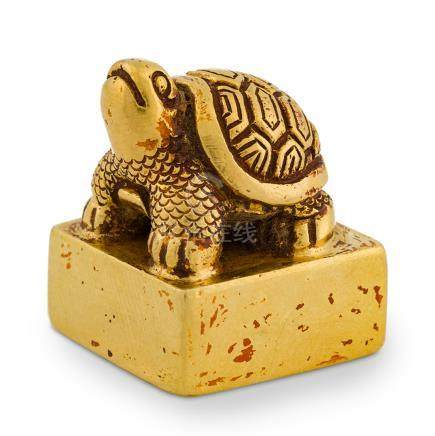 QING SOLID GOLD TURTLE SEAL