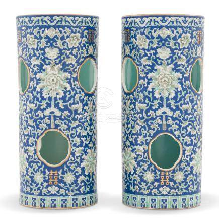 PAIR DAOGUANG BLUE & WHITE WRAPPED FLORAL HAT STANDS