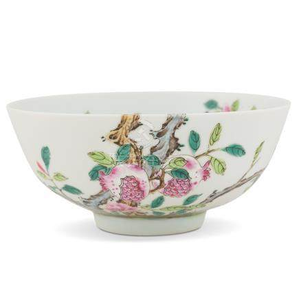 JIAQING FAMILLE ROSE POMEGRANATE BOWL