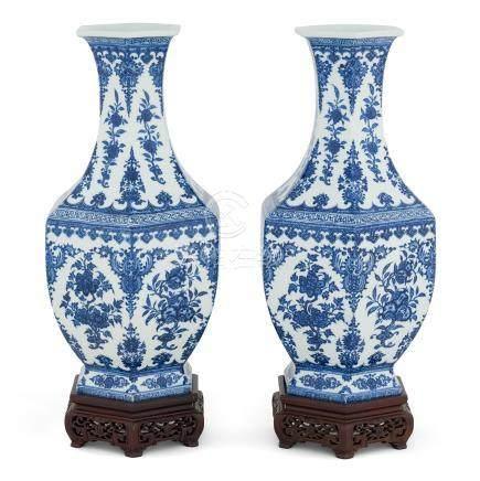 PAIR BLUE & WHITE FRUITS ABUNDANT HEXAGONAL VASES
