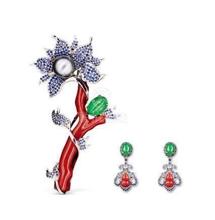MS DONG 靠近心脏的艺术 '相逢时刻'胸针耳环套装