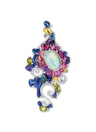 MS DONG 靠近心脏的艺术 澳宝配彩色宝石配钻石胸针