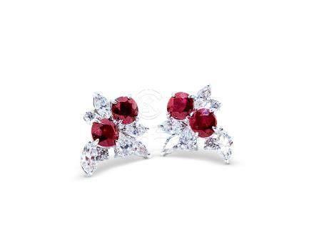 4.08克拉天然缅甸'鸽血红'红宝石配钻石耳环