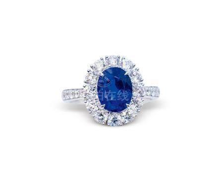 3.13克拉天然缅甸'皇家蓝'蓝宝石配钻石戒指
