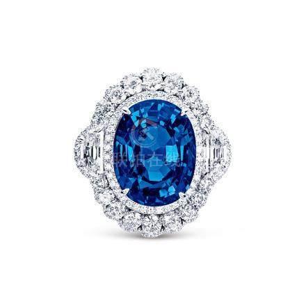 18.16克拉天然椭圆形无烧蓝宝石配钻石戒指