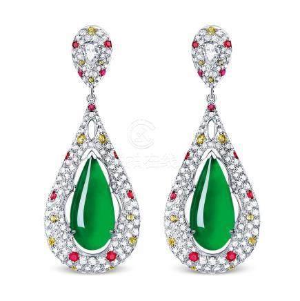 天然缅甸翡翠配红宝石及钻石耳环
