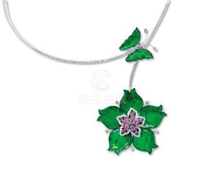蝴蝶花形天然翡翠配红宝石项链/胸针